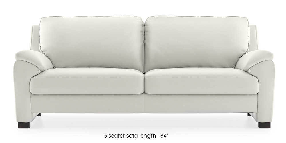 Farina Half Leather Sofa (White Italian Leather) by Urban Ladder - -