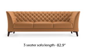 Weston Half Leather Sofa (Mustard Italian Leather)