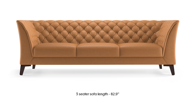 Weston Half Leather Sofa (Mustard Italian Leather) (3-seater Custom Set - Sofas, None Standard Set - Sofas, Mustard, Regular Sofa Size, Regular Sofa Type, Leather Sofa Material)