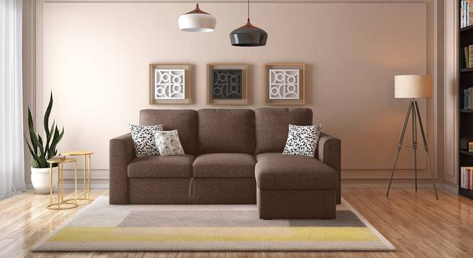 Kowloon Sectional Sofa Cum Bed with Storage (Daschund Brown) by Urban Ladder - Full View - 312723