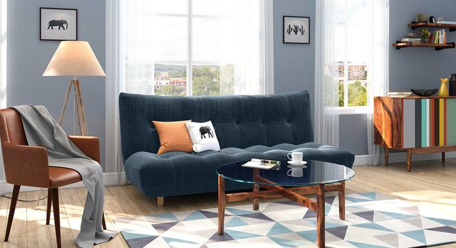Palermo Sofa Cum Bed (Indigo Blue) by Urban Ladder - Full View - 312768