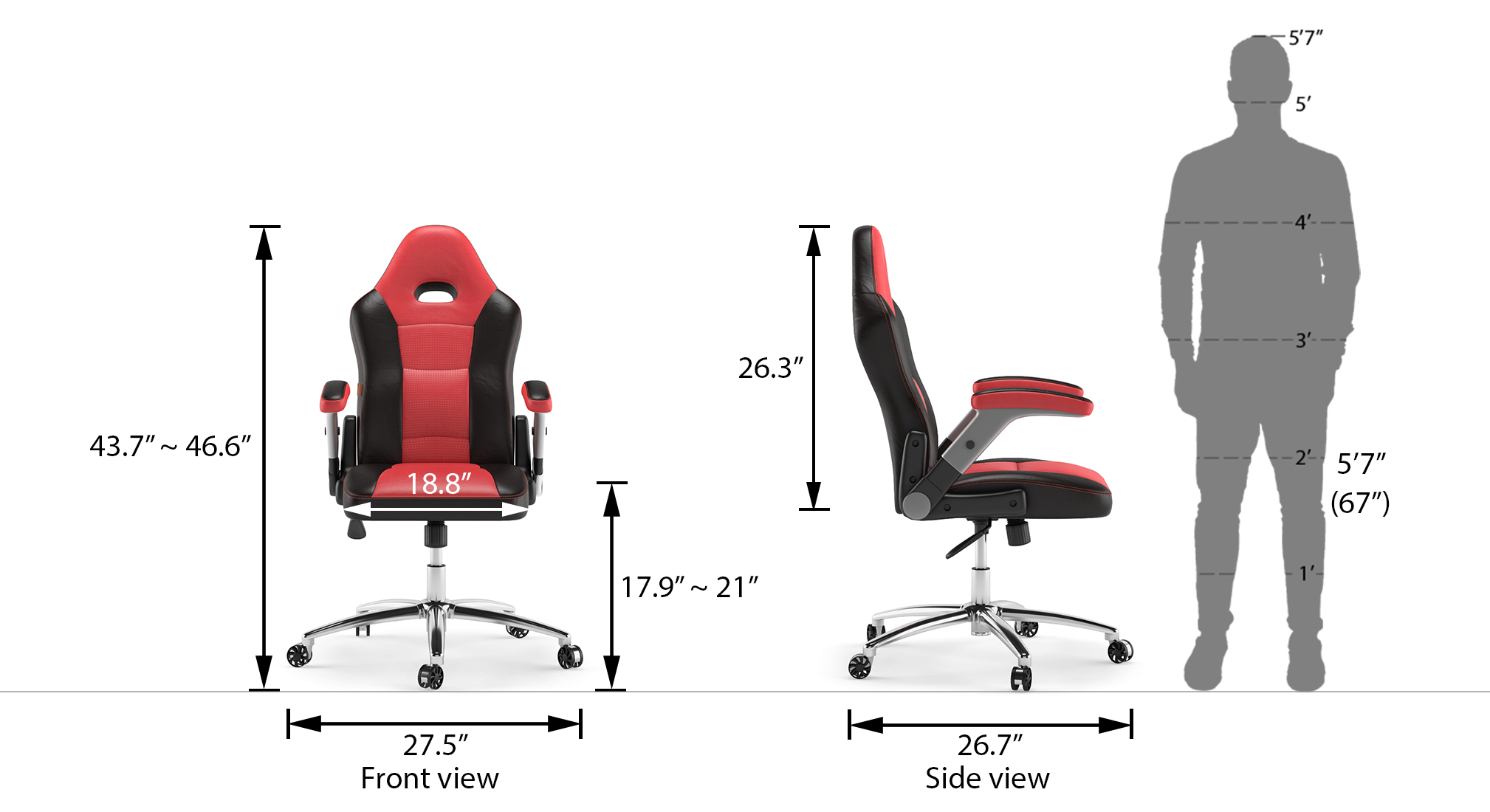 Mika study chair scarlet red 2