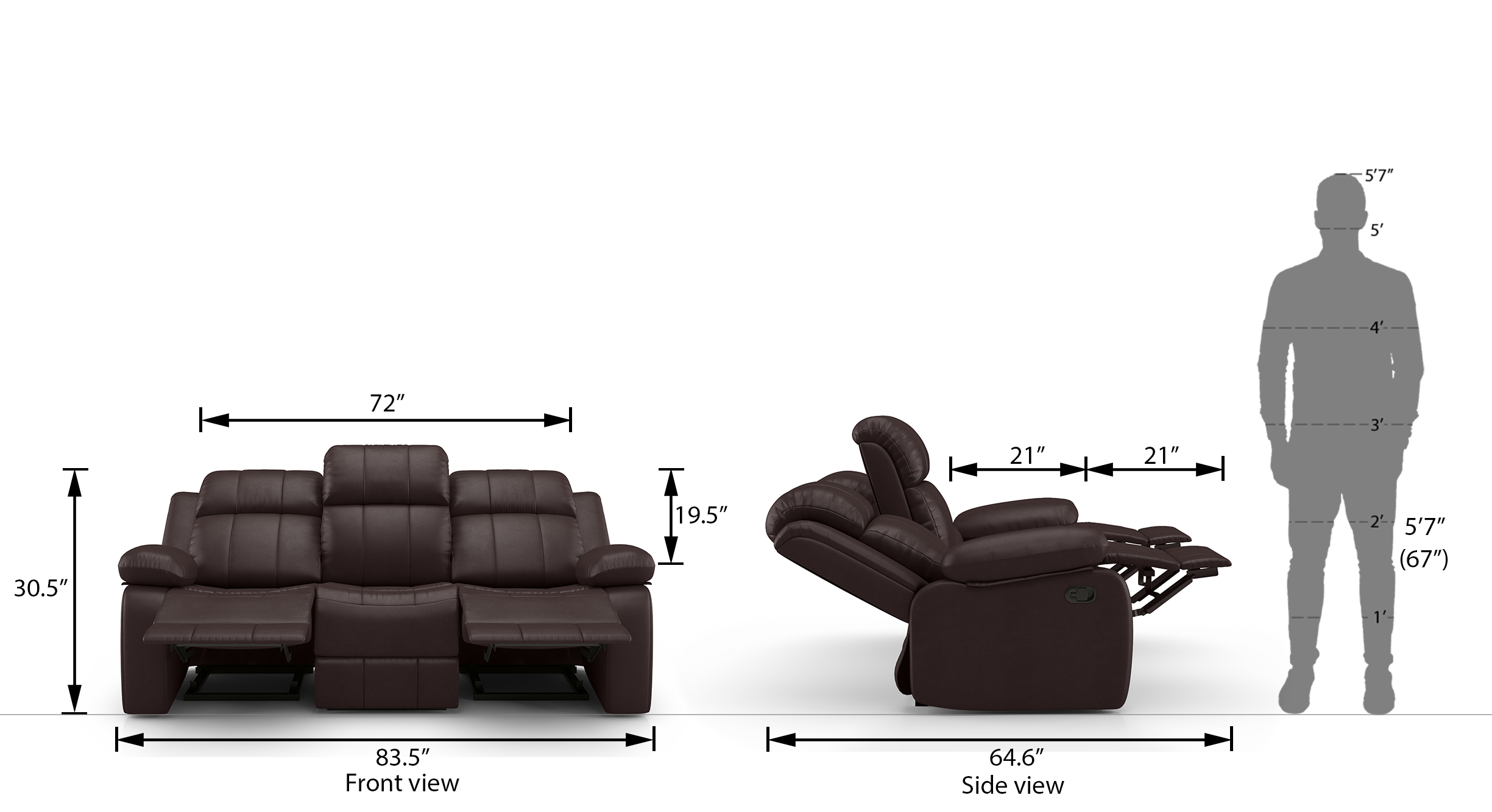 Griffin 3 seater chocolate recliner 22