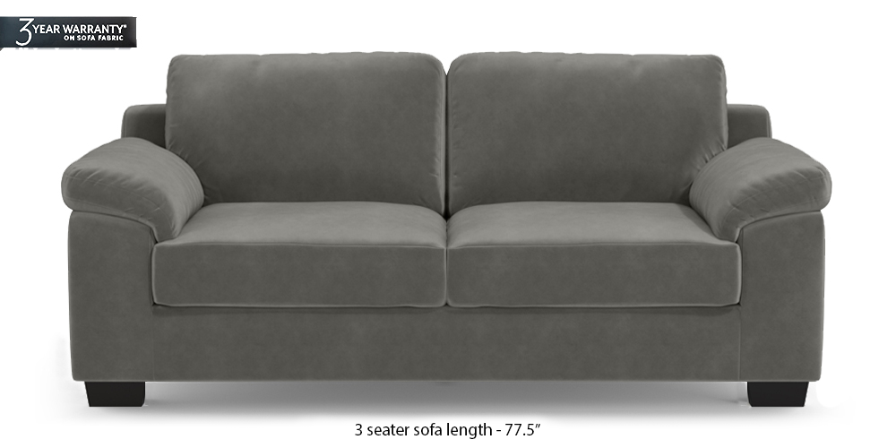 Esquel Sofa (Ash Grey Velvet) (1-seater Custom Set - Sofas, None Standard Set - Sofas, Fabric Sofa Material, Regular Sofa Size, Regular Sofa Type, Ash Grey Velvet) by Urban Ladder - - 313504