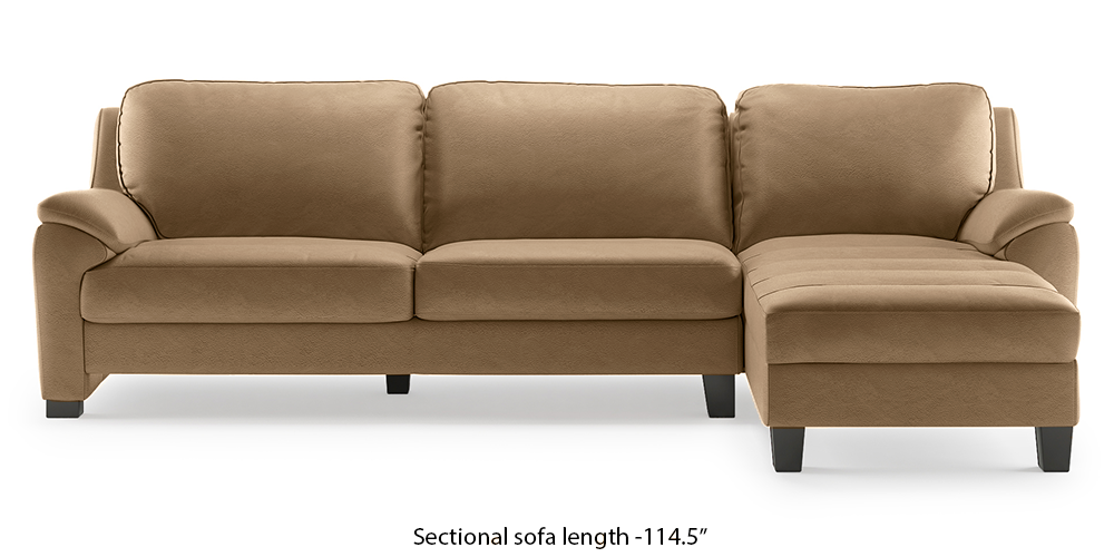 Farina Half Leather Sectional Sofa (Camel Italian Leather) (Camel, Regular Sofa Size, Sectional Sofa Type, Leather Sofa Material) by Urban Ladder - -