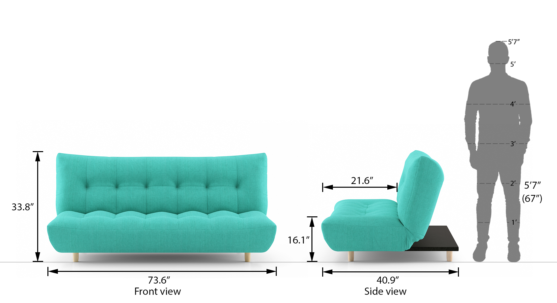 Palermo sofa bed lagoon green 21