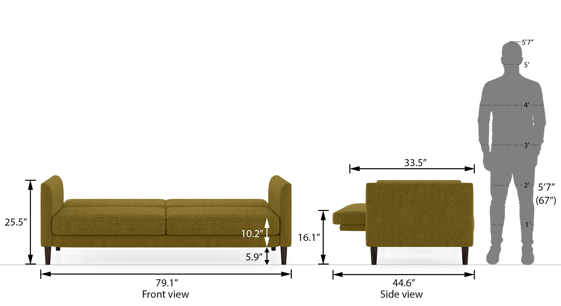 Felicity sofa cum bed olive green 2