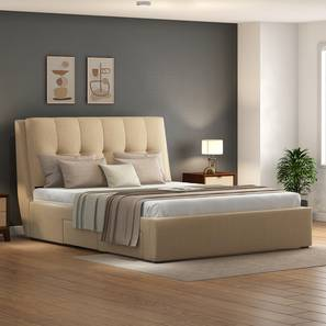 Bornholm Upholstered Storage Bed (Queen Bed Size, Beige) by Urban Ladder - Design 1 Side View - 314005