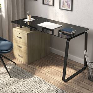 Eddings Glass Top Study Table (Without Keyboard Tray Configuration, Honey Walnut Finish) by Urban Ladder - Design 1 - 314053