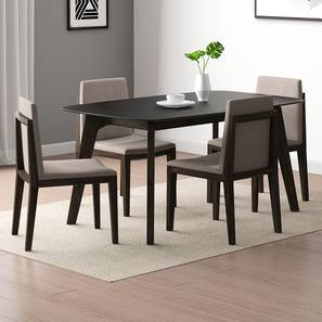 Galaxy Granite Top - Galatea 4 Seater Dining Table Set (American Walnut Finish) by Urban Ladder - Design 1 Full View - 314162