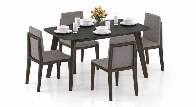 Galaxy Granite Top - Galatea 4 Seater Dining Table Set (American Walnut Finish) by Urban Ladder - Front View Design 1 - 314163