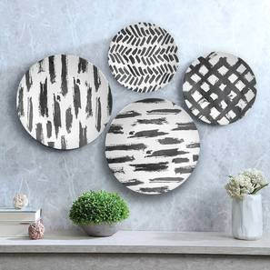 """Chaos of Grey Wall Plate (Round Shape, 20 x 20 cm (8"""" x 8"""") Size) by Urban Ladder - Design 1 - 315355"""