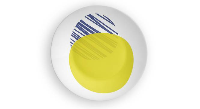 """Circle of Life Yellow Wall Plate (Round Shape, 20 x 20 cm (8"""" x 8"""") Size) by Urban Ladder - Front View Design 1 - 315380"""