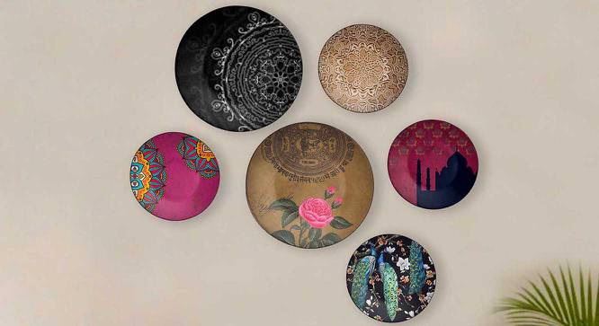 """Indian Elegance Set of 8 Wall Plates (Round Shape, 20 x 20 cm (8"""" x 8"""") Size) by Urban Ladder - Front View Design 1 - 315409"""