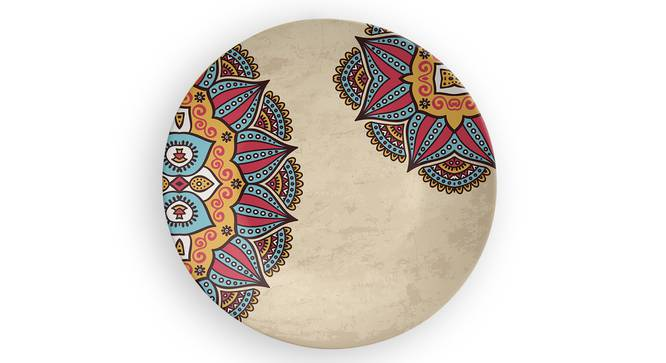 "Mandala Beige Wall Plate (Round Shape, 20 x 20 cm (8"" x 8"") Size) by Urban Ladder - Front View Design 1 - 315414"