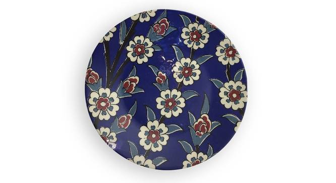 """CObalt Pottery Wall Plate (Round Shape, 20 x 20 cm (8"""" x 8"""") Size) by Urban Ladder - Front View Design 1 - 315448"""