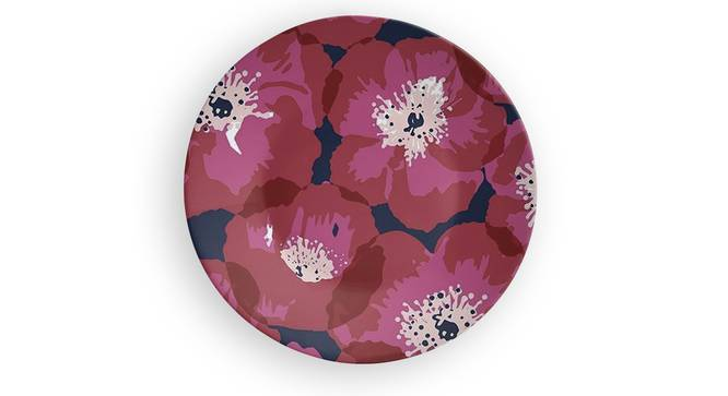 """Red Flower Wall Plate (Round Shape, 20 x 20 cm (8"""" x 8"""") Size) by Urban Ladder - Front View Design 1 - 315514"""