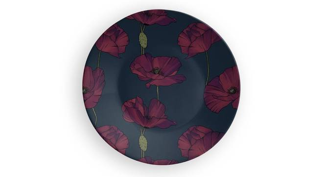 "Purple Flower Wall Plate (Round Shape, 20 x 20 cm (8"" x 8"") Size) by Urban Ladder - Front View Design 1 - 315517"