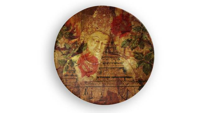 """Buddha Caves Wall Plate (Round Shape, 20 x 20 cm (8"""" x 8"""") Size) by Urban Ladder - Front View Design 1 - 315532"""