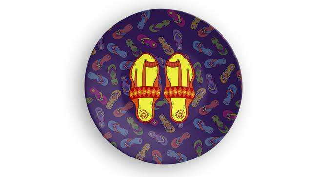 """Chappal Wall Plate (Round Shape, 20 x 20 cm (8"""" x 8"""") Size) by Urban Ladder - Front View Design 1 - 315535"""