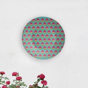 """Ikat-Teal Wall Plate (Round Shape, 20 x 20 cm (8"""" x 8"""") Size) by Urban Ladder - Design 1 - 315567"""