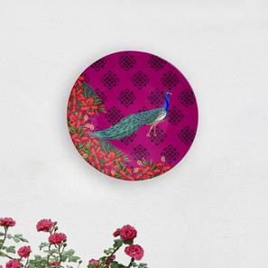 """Peacock Wall Plate (Round Shape, 20 x 20 cm (8"""" x 8"""") Size) by Urban Ladder - Design 1 - 315582"""