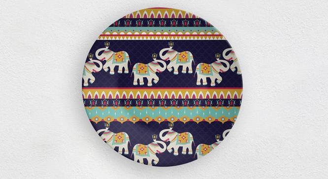 """Purple Elephant Wall Plate (Round Shape, 20 x 20 cm (8"""" x 8"""") Size) by Urban Ladder - Front View Design 1 - 315646"""