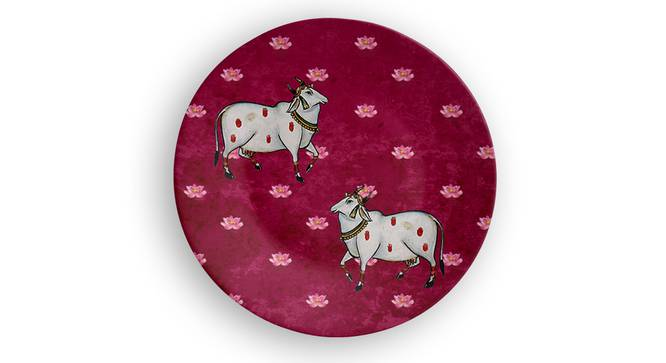 """Sacred Cow Wall Plate (Round Shape, 20 x 20 cm (8"""" x 8"""") Size) by Urban Ladder - Front View Design 1 - 315661"""