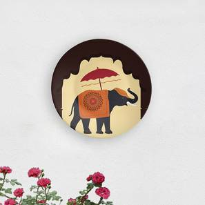 "Royal Elephant Wall Plate (Round Shape, 20 x 20 cm (8"" x 8"") Size) by Urban Ladder - Design 1 - 315665"