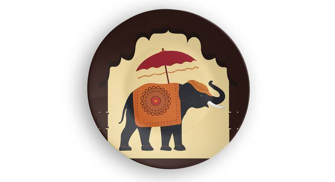 "Royal Elephant Wall Plate (Round Shape, 20 x 20 cm (8"" x 8"") Size) by Urban Ladder - Front View Design 1 - 315666"