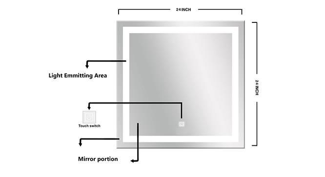 Cara Bathroom Mirror (Silver) by Urban Ladder - Front View Design 1 - 316280