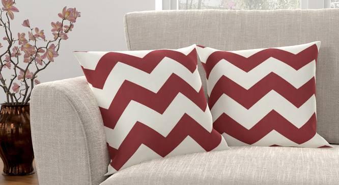 "Chevron Cushion Cover - Set Of 2 (Brick Red, 41 x 41 cm  (16"" X 16"") Cushion Size) by Urban Ladder - Design 1 Full View - 316365"