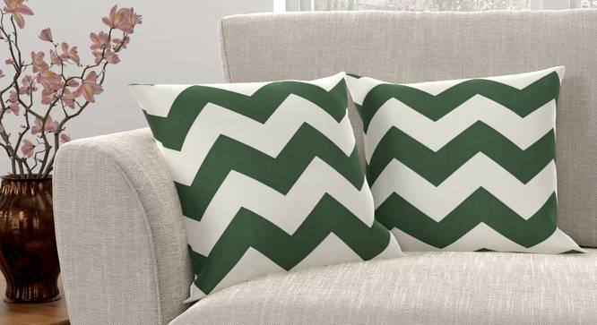 "Chevron Cushion Cover - Set Of 2 (Green, 41 x 41 cm  (16"" X 16"") Cushion Size) by Urban Ladder - Design 1 Full View - 316368"