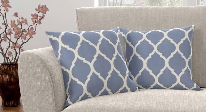 "Taj Cushion Cover - Set Of 2 (Blue, 41 x 41 cm  (16"" X 16"") Cushion Size) by Urban Ladder - Design 1 Full View - 316380"