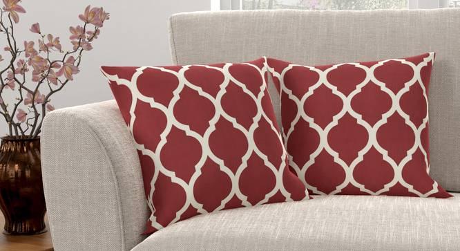 "Taj Cushion Cover - Set Of 2 (Brick Red, 41 x 41 cm  (16"" X 16"") Cushion Size) by Urban Ladder - Design 1 Full View - 316386"