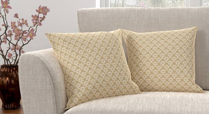 "Gardenia Cushion Cover - Set Of 2 (Gold, 41 x 41 cm  (16"" X 16"") Cushion Size) by Urban Ladder - Design 1 Full View - 316415"