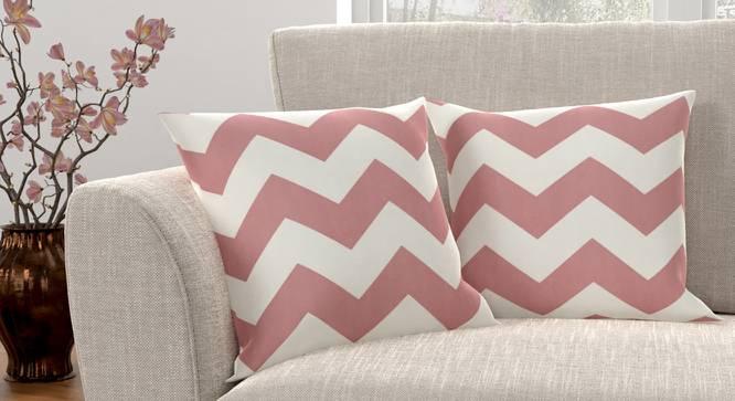 "Chevron Cushion Cover - Set Of 2 (Pink, 46 x 46 cm  (18"" X 18"") Cushion Size) by Urban Ladder - Design 1 Full View - 316424"