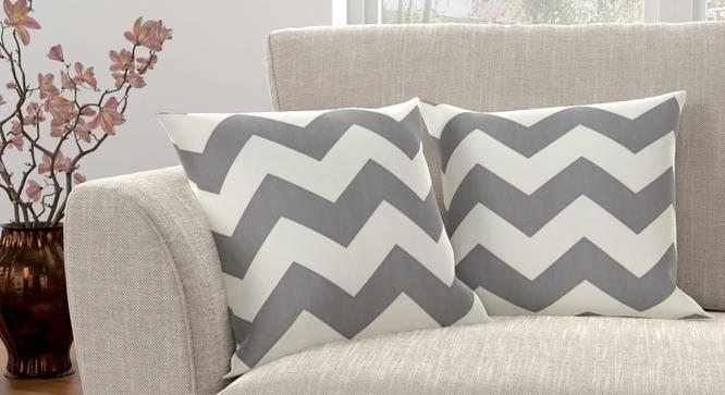 "Chevron Cushion Cover - Set Of 2 (Dark Grey, 46 x 46 cm  (18"" X 18"") Cushion Size) by Urban Ladder - Design 1 Full View - 316433"
