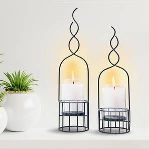 Shany Candle Holder- Set of 2 (Black) by Urban Ladder - Front View Design 1 - 317750