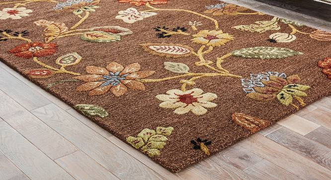 """Sabab Hand Tufted Carpet (152 x 244 cm  (60"""" x 96"""") Carpet Size, Cocoa Brown) by Urban Ladder - Front View Design 1 - 318029"""