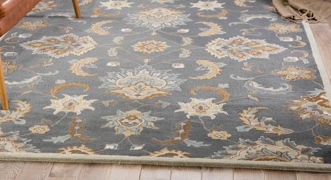 "Faiz Hand Tufted Carpet (152 x 244 cm  (60"" x 96"") Carpet Size, Light Blue) by Urban Ladder - Front View Design 1 - 318096"