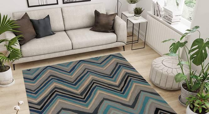 "Mola Carpet (Blue, 152 x 244 cm  (60"" x 96"") Carpet Size, Hand Tufted Carpet Type) by Urban Ladder - Design 1 Side View - 318253"