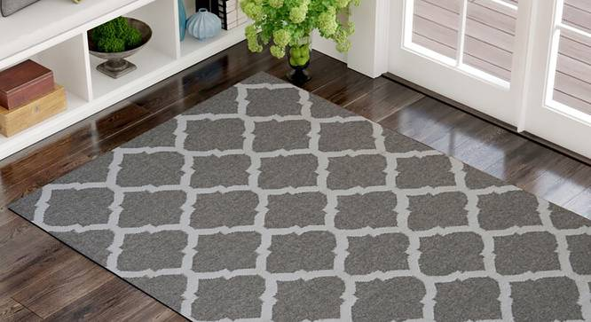 """Styrin Dhurrie (Brown, 122 x 183 cm  (48"""" x 72"""") Carpet Size) by Urban Ladder - Front View Design 1 - 318260"""