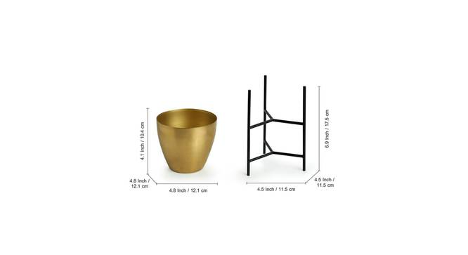 Mudra Planter-Set of 2 (Gold) by Urban Ladder - Design 1 Side View - 319129
