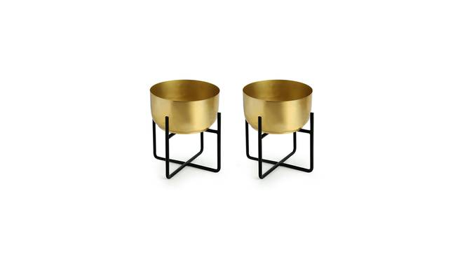 Vaidya Planter-Set of 4 (Gold) by Urban Ladder - Front View Design 1 - 319140