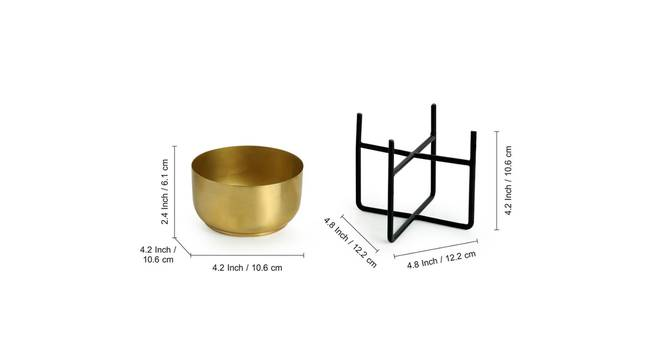 Vaidya Planter-Set of 4 (Gold) by Urban Ladder - Design 1 Side View - 319141