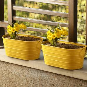 Haro Planter-Set of 2 (Glossy yellow) by Urban Ladder - Design 1 - 319305