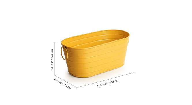 Haro Planter-Set of 2 (Glossy yellow) by Urban Ladder - Design 1 Side View - 319307