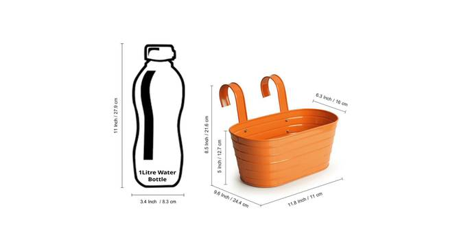 Sahil Planter (Glossy Orange) by Urban Ladder - Design 1 Side View - 319345