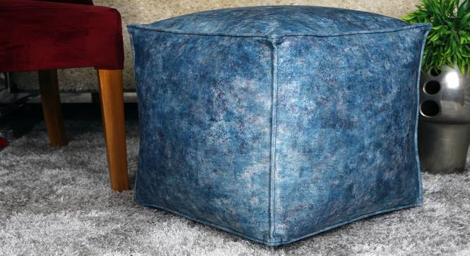 Chevina Pouffe (Blue) by Urban Ladder - Design 1 Full View - 319515